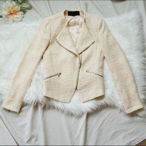 Zara Ecru Zip Blazer with Neon Threads (XS)